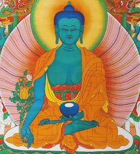 "16"" BLESSED NATURAL MINERAL COLOR SILKPRINT TIBETAN THANGKA: MEDICINE BUDDHA ="