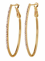"Swarovski Element Crystal 2"" Fantastic Hoop Earrings Gold Plated Authentic 7228z"