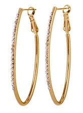 """Swarovski Elements Crystal 2"""" Oval Fantastic Hoop Pierced Earrings Gold 7228z"""