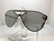 Authentic VERSACE SUNGLASSES VE2161 10026G GOLD/LIGHT GRAY SILVER MIRROR LENS