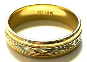 RETRO 14k GOLD 2-Tone Mens Wedding Anniversary Ring Band Diamond Cut  6.4 grams