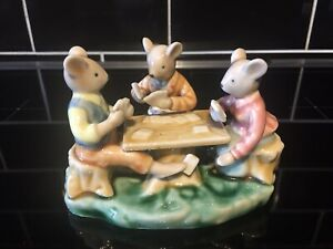 Vintage Mice Playing Cards Cheating Golden Rose Giftware Figurine Ornament 1960s