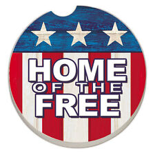SET OF 2 - Absorbent Car Coasters-Home of the Free on Flag - NEW- FREE SHIPPING