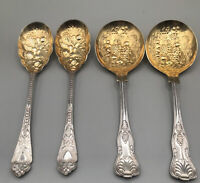 4 VINTAGE WILLIAM ADAMS SHEFFIELD GOLD WASH LARGE SERVING/SALAD/BERRY SPOONS