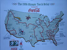 "1996 Olympic Torch Relay Route Map Illustration Coca Cola 8.5""x11"" Nice Display"