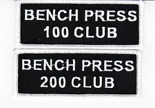 BENCH PRESS 100-200 CLUB SEW/IRON ON PATCH EMBROIDERED WEIGHTLIFTING GYM