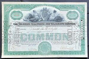 TRI-STATE TELEPHONE & TELEGRAPH CO. Stock 1929. New Mexico, Arizona & Texas. VF+