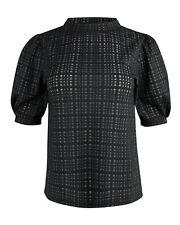 Oliver Bonas Women Textured Check Black Puff Sleeve Top