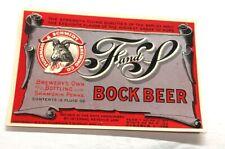 B) U-Permit Irtp F&S Bock Beer 12 Oz Bottle Label Fuhrmann & Schmidt Shamokin Pa