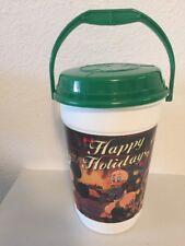 Walt Disney World Happy Holidays Christmas Souvenir Popcorn Bucket Green Lid EUC