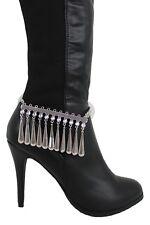 Women Boot Chain Silver Metal Shoe Anklet Bling Beads Dangel Charm Drop Strap