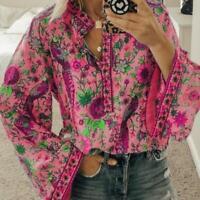 Boho Lantern Long Sleeve Loose Tops Ladies Hippie Gypsy Best Tunic Blouse S O5F2