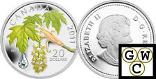 2011Maple Leaf Crystal Raindrop Color and Crystal Prf $20 Silver.9999Fine(12859)