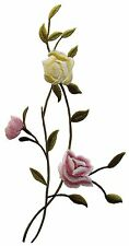 """#3967L 10"""" Embroidery Iron On Rose Flower Applique Patch-Left"""