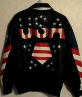 Vintage Suzie's Leather USA American Flag Lined Jacket Size XXL