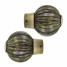 Pair Of 28mm Dia Curtain Pole Wire Mesh Mix & Match Finials - Antique Brass