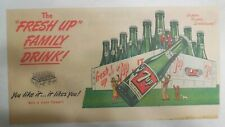 7-Up Ad: Fresh Up With Seven-Up! Family Drink ! from 1940's  7.5 x 15 inches