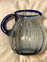 Cobalt Ribbed Pitcher Applied Cobalt Handle Blown Glass Pontil Bubbles 8.5""