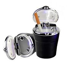 Car Ashtray Lid - Portable auto car ashtray with LED light Medium Black