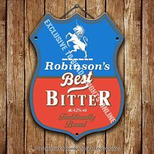 Robinson's Best Bitter Beer Advertising Pub Metal Pump Badge Shield Steel Sign