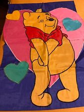 Winnie the Pooh Large sculpted applique Flag 28x39 Valentine hearts love happy G
