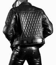 Men's Real Leather Bikers Jacket Quilted Panels Back & Sleeves Bikers Jacket