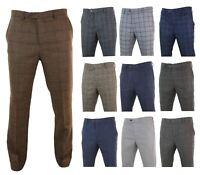 Mens Herringbone Tweed Vintage Retro Check Wool Trousers Peaky Blinders Classic