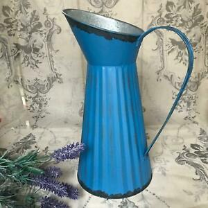 Large French Blue Metal Jug Vintage Shabby Chic Style Pitcher Flower Vase 33 cm