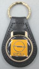 Vintage Logo Black OPEL Black Leather Goldtone Keyring Key Fob Key Holder