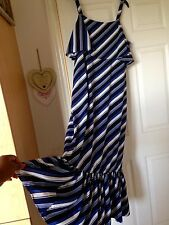 New M&S Collection Ladies Striped Cold Shoulder Flare Maxi Dress,Boho UK10 Blue