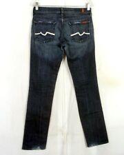 euc 7 For All Mankind Ladies Dark Wash USA Made Flare Stretch Denim Jeans sz 28