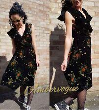 ZARA VELVET FLORAL BLACK FRILLED DRESS SIZE S 8