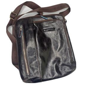 Piquadro Crossbody Bag Men Messenger Shoulder Stylish Brown Leather Adjustable