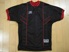 Great! 90s vtg Umbro Soccer Jersey black with red piping Mesh small