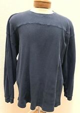 Men's Champs Navy Blue Cotton Long Sleeve Crew Neck Henley T Shirt Size 2XL
