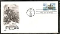 US SC # 2805 Columbus Landing in Puerto Rico FDC. Artcraft Cachet.