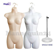 2 Female Dress Form Mannequin Torsos Set - Flesh & White + 2 Hangers + 1 Stan