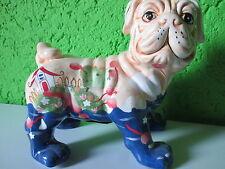 """Spardose """"Bulldogge""""Bunt Blumen Hund Sparbüchse Deko Figur Tierfigur Kunst Dog#E"""