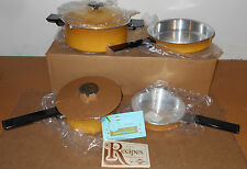 Vintage NOS West Bend Aluminum Cookware 6-Piece Set Yellow Never Used