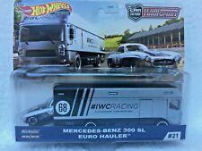 Hot Wheels Equipo de transporte-Mercedes Benz 300 SL & Euro Hauler-como Nuevo & en Mano