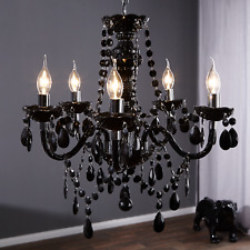 Kronleuchter BLACK CRYSTAL 55cm schwarz 5-armig Kristall Lüster Hängelampe Lampe
