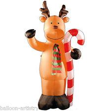 8ft Deluxe Light Up Christmas Reindeer Cane Outdoor Inflatable Garden Decoration