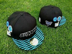 SIZE 7 1/4 NEW ERA CHARLOTTE HORNETS BUZZ CITY BLACK TEAL MULTI PATCH FITTED HAT