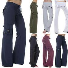 Womens Bootcut Flared Long Pants Pockets Loose Baggy Sports Yoga Casual Trousers