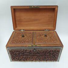 More details for a superb anglo indian sandalwood & sadeli twin tea caddy lidded box c. 1860/1880