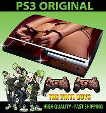 PLAYSTATION PS3 ORIGINAL STICKER HOT BOOTY HAND CUFFS SEXY SKIN & 2 PAD SKINS
