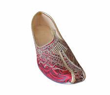 Men Shoes Handmade Wedding Khussa Indian Jutties Red Loafers Flat US 6