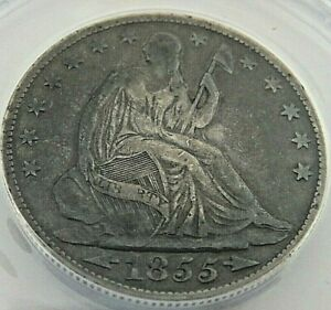 1855-O  Seated Liberty, sliver 50cent coin, ANACS graded  F-12 with Arrows