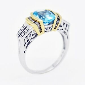 14k White/Yellow Gold Estate Blue Topaz & Diamond Ring Size 7