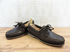 Sebago Filson Men's Brown waxed leather Docksides Boat Deck UK 8.5 US 9 EU 42.5